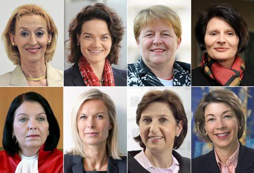 Die Bildkombo aus Archivfotos zeigt acht der derzeit 15 Frauen, die momentan oder in naher Zukunft Führungs-Posten in Dax-Unternehmen belegen (v.l.n.r., oben-unten) - Regine Stachelhaus (Personal, EON, seit Juni 2010), Claudia Nemat (Europachefin, Telekom, ab Oktober 2011), Brigitte Ederer (Personal, Siemens seit Juli 2010), Marion Schick (Telekom, Personal, ab Mai 2012), Christine Hohmann-Dennhardt (Daimler, Integrität und Recht, seit Februar 2011), Kathrin Menges (Henkel, Personal, seit Oktober 2011), Margret Suckale (BASF, Arbeitsdirektorin, seit Mai 2011) und Barbara Kux (Siemens, Supply Chain Management, Nachhaltigkeit, seit November 2008).