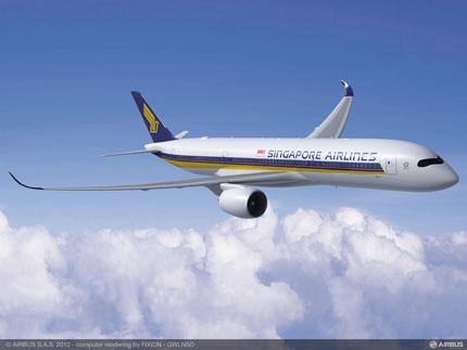 Der Airbus A350-900 von Singapur Airlines.
