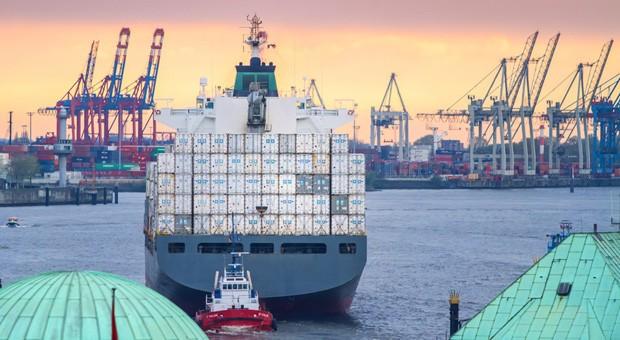 Containerfrachter im Hamburger Hafen.