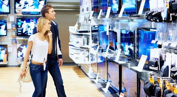Die TV-Abteilung eines Kaufhauses