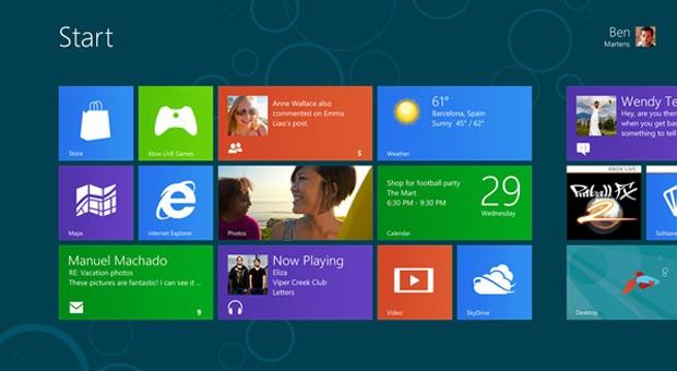Der Startbildschirm von Windows 8, vorgestellt bei der Consumer Preview im Februar 2012 in Barcelona.