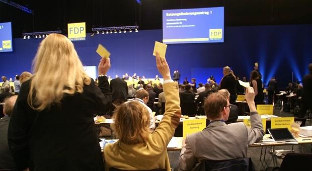 Abstimmung auf dem FDP-Parteitag in Nürnberg