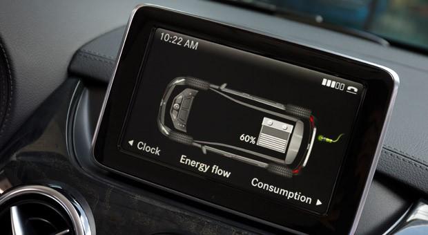 Die Energieflussanzeige beim Aufladen der Lithium-Ionen Batterie in der Mercedes-Benz B-Klasse Electric Drive