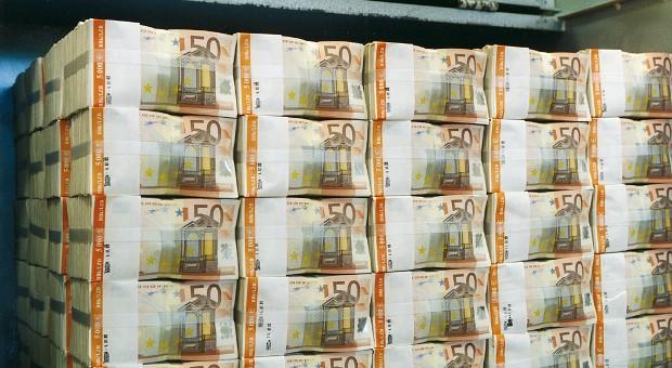 Eine Palette mit 50-Euro-Scheinen.