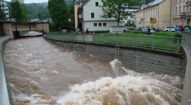 Hochwasser in Glashütte in Sachsen.