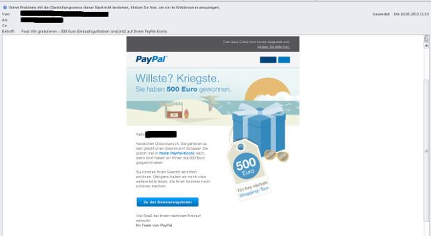 Ein Sreenshot der Gewinnbenachrichtigung, die Paypal nach kurzer Zeit wiederrief.