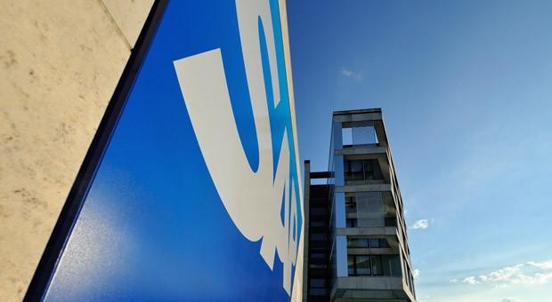 Das SAP-Logo an der Unternehmenszentrale in Walldorf.