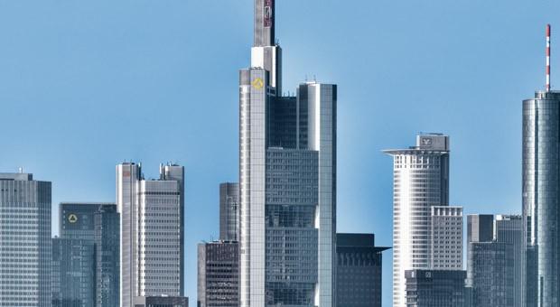 Die Skyline des Bankenviertels in Frankfurt am Main.