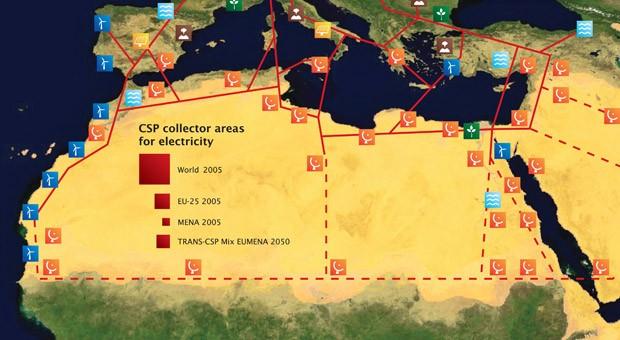 Die gemeinnützige Desertec Foundation ging hervor aus einem Netzwerk von Wissenschaftlern, Politikern und Ökonomen aus Europa, dem Nahen Osten und Nordafrika (EU-MENA). Die Grafik zeigt die Skizze einer möglichen Infrastruktur in Nordafrika und Südeuropa mit Windkraftanlagen (blau) Solarkraftwerken (orange).