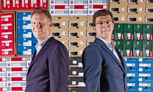 Die Chefs Otto Hurler (l.) und Harald Wittig haben Runners Point ideenreich wieder auf Spur gebracht