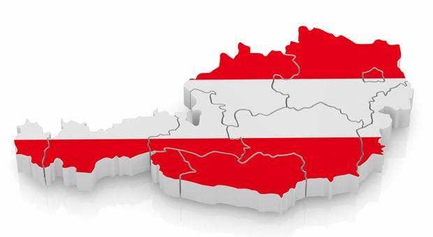 Eine Karte von Österreich mit den neun Ländern Burgenland, Kärnten, Niederösterreich, Oberösterreich, Salzburg, Steiermark, Tirol, Vorarlberg und Wien.