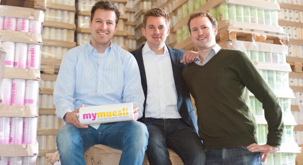Die Gründer von mymuesli.de: Philipp Kraiss (l.), Max Wittrock und Hubertus Bessau (r.)