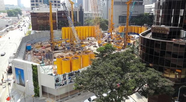 Eine Baustelle der malayischen Tochter von Bauer Spezialtiefbau in Singapur.