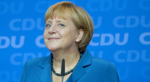 Angela Merkel kurz nach den ersten Hochrechnungen zur Bundetagswahl 2013