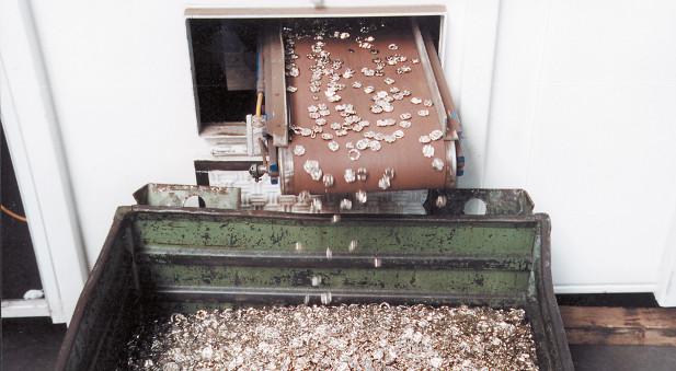 Eine Münzentwertungsmaschine