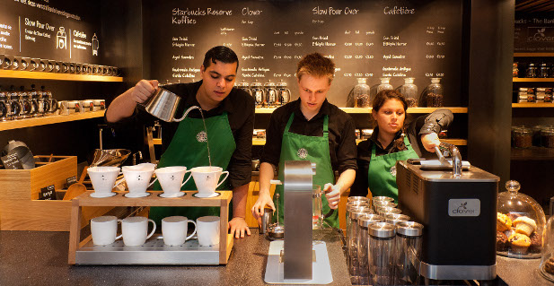 Eine Starbucksfiliale in den USA