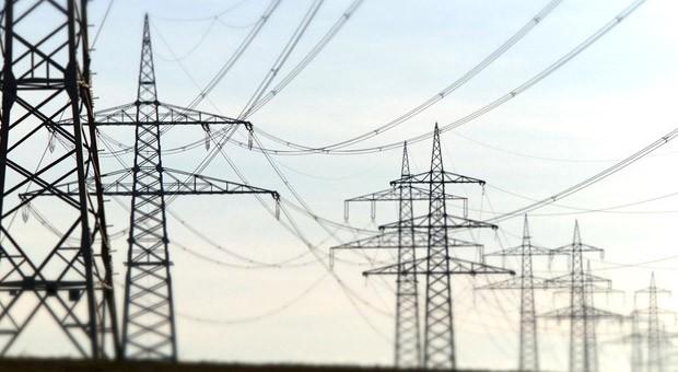 Eine Stromtrasse in Deutschland.