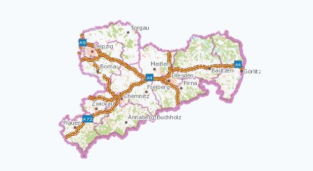 Karte des Bundelandes Sachsen