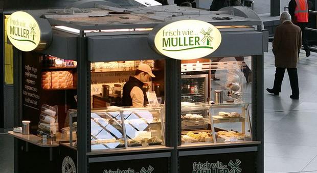 Ein früherer Stand der ehemaligen Großbäckerei Müller Brot im Münchner Hauptbahnhof.