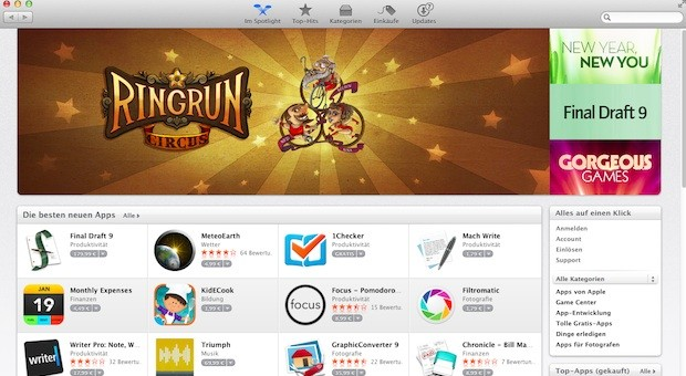 Screenshot des Apple-App-Stores