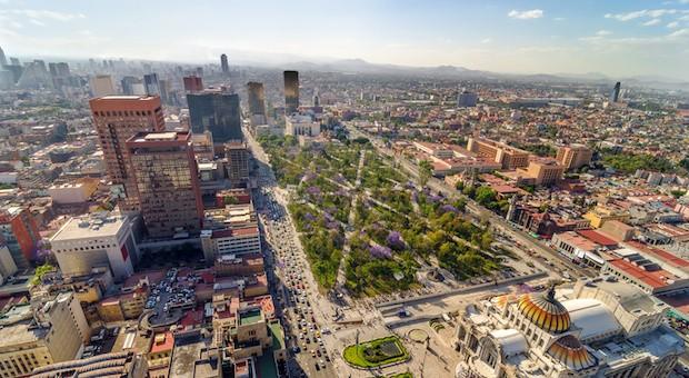 Blick auf die Skyline von Mexiko Stadt