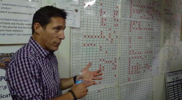 Bildung, Bildung, Bildung: Jeder Mitarbeiter durchläuft in Nick Sarilos Nick's Pizza&Pub ein Curriculum. Auf der Tafel werden die Ergebnisse festgehalten.