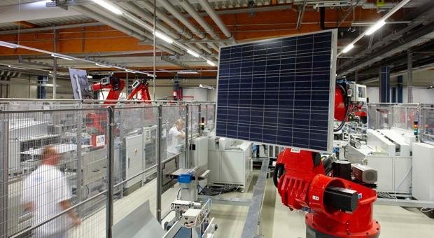 Die Produktion von Aleo Solar im brandenburgischen Prenzlau.