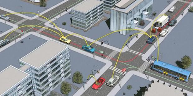 Wie in dieser Illustration sollen Autos künftig drahtlos mit einander kommunizieren.