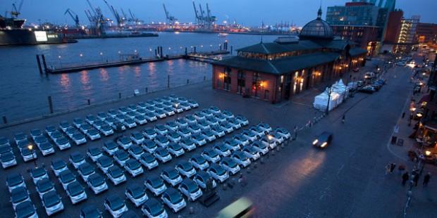 Mietautos am Hamburger Fischmarkt.