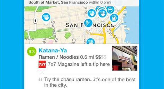 Screenshot der Foursquare-App