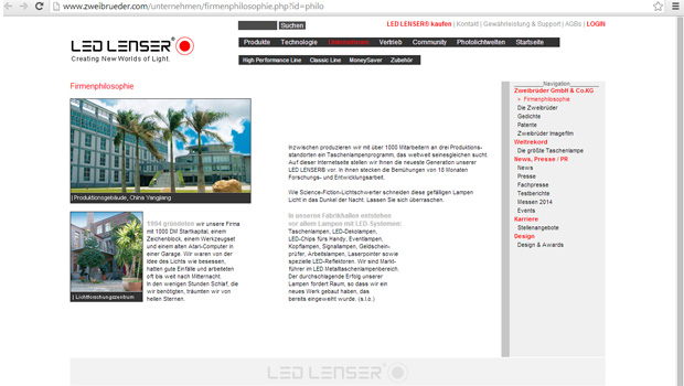 Original-Website von Led-Lenser