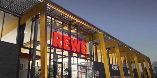 Ein Rewe-Einkaufsmarkt.