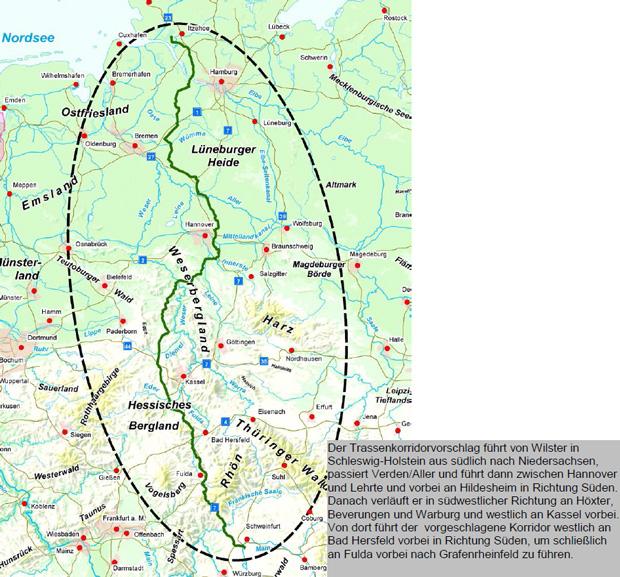 So stellen sich Tennet und TransnetBW den Verlauf der 800-Kilometer-Trasse vor.