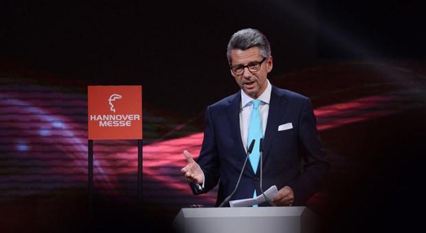 Ulrich Grillo, Präsident des Bundesverbands der Deutschen Industrie (BDI), vor der Eröffnung der Hannover Messe