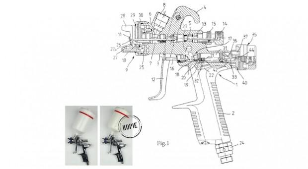 Täuschend echt: Dank moderner Technik sind Produkte wie diese SATA-Spritzpistole (links das Original) viel leichter zu fälschen. Vermessungen erledigen Scanner und Computer in kürzester Zeit.
