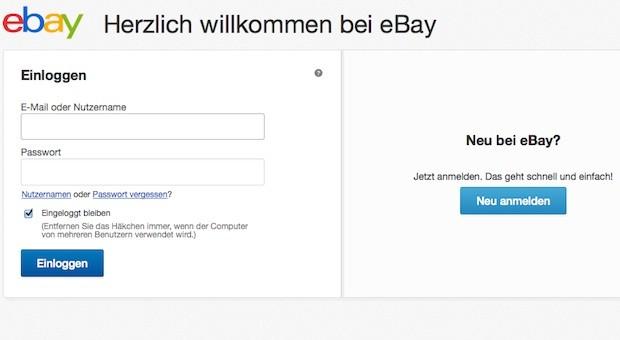 Der Einloggbereich von Ebay
