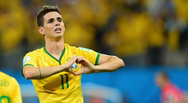 Der brasilianische Nationalspieler Oscar nach seinem Schuss zum 3:1 im Eröffnungsspiel der Fußball-WM in Brasilien.
