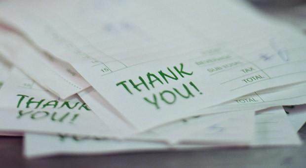 """Ein warmes und freundliches """"Dankeschön!"""" kann helfen, die Zahlungsmoral der Kunden zu verbessern, berichten Unternehmer."""