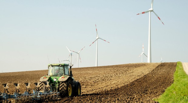 Windräder liefern erneuerbare Energie.