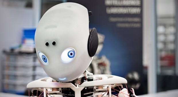 """Der humanoide Roboter Roboy kann mit seinem Gesprächspartner interagieren, äußert """"Gefühle"""" und wirkt schon beinahe menschlich."""