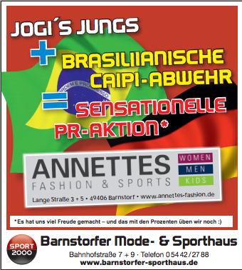 Den Schaden mit Humor nehmen: Die WM-Anzeige des Barnstorfer Sporthaus