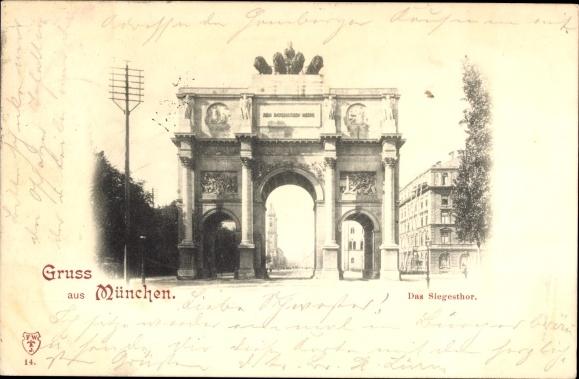 ... wurde 1897 diese Postkarte aus München geschickt.