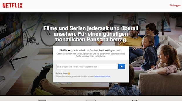 Screenshot der Netflix Homepage