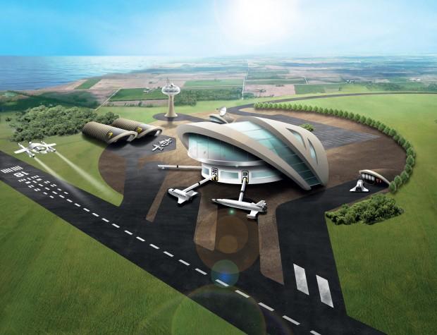 Diese Illustration zeigt, wie der Weltraumbahnhof möglicherweise aussehen könnte.