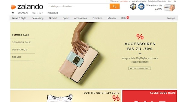 Screenshot der Zalando Website