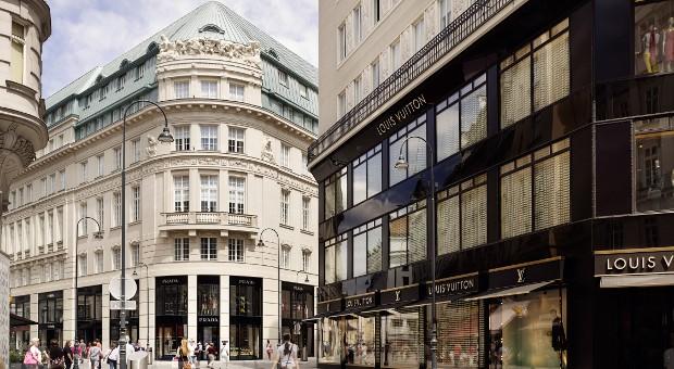 In der Bognergasse im Goldene Quartier in Wien reihen sich die Luxus-Geschäfte aneinander.