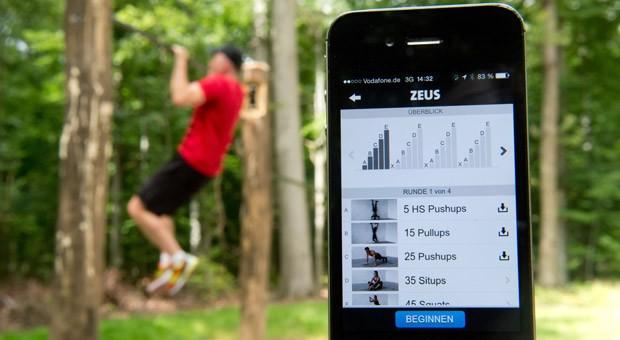"""Die Fitness-App """"Freeleticss"""" gibt Kraft- und Ausdauerübungen vor, für die man kein Fitnessstudio braucht."""