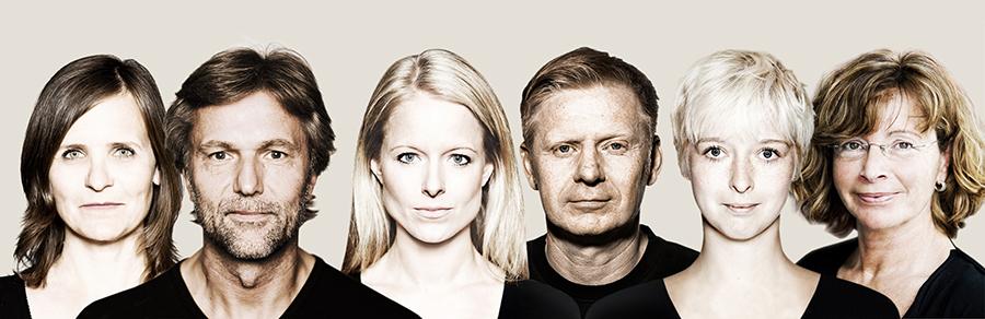 Das Team der Agentur Red Angus: Claudia Kuller, Bernd Lange, Kirsten Rosenberger, Bernhard Jantschke, Eva Bender und Marina Lange. © RED ANGUS Creative Consultants