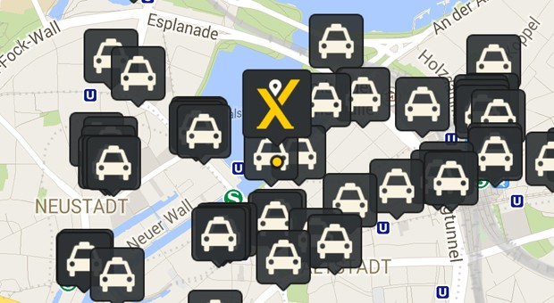 Ein Screenshot der MyTaxi-App.