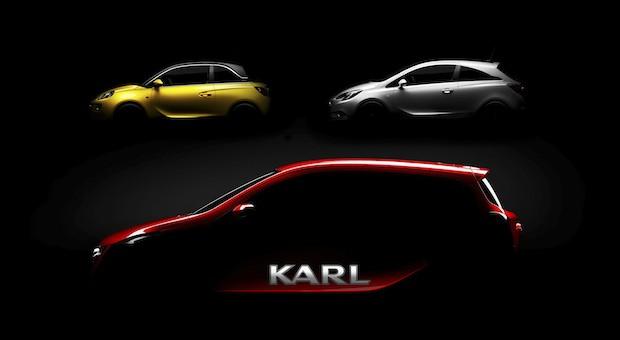 Sie sollen Opel neue Kunden bringen: Die Kleinwagen Karl (vorne), ADAM (l.) und der Corsa